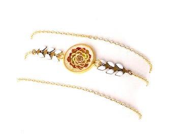 """Bracelet 3 Tours Tamara : laiton doré et cabochon, chaîne épis blanche, illustration plante grasse """"Echeveria"""", bijou femme nature"""