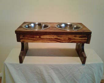 Elevated Rectangular Wood Double Dog Bowl Stand