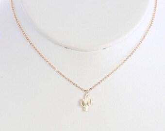 Gold Cactus Cutout Necklace