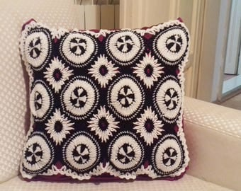 """SALE!Hand knitted pillow, decorative pillow, knitted pillow case, crochet pillowcase, lace pillow, white knitted pillow """"Fragrant bouquet""""."""