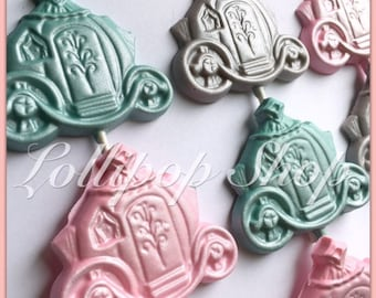 12 Princess carriage chocolate lollipops - Birthday, princess party favors, baby shower, bridal shower