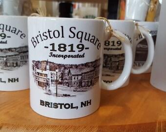 Bristol Square 1819 New Hampshire  Coffee Mug, Frosted Mug, Mason Jar
