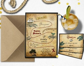 Pirate invitation, Pirate theme invite set, treasure map, pirate birthday, Pirate theme party, nautical baby shower, pirate favor tags