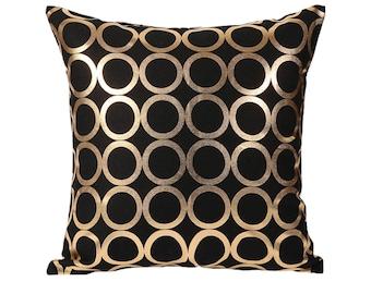 black gold pillow etsy. Black Bedroom Furniture Sets. Home Design Ideas