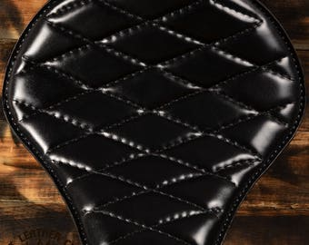 Handmade Bobber Seat Black Stitched in Check Pattern