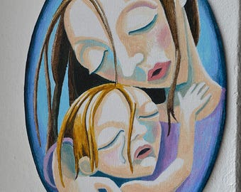 mother,  mother and daughter, oval, mothering art, mother daughter, figurative painting