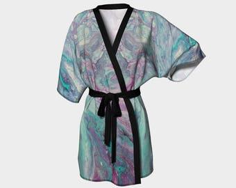 Cayo Costa Short Kimono,lounging wear,designer robes,zen robes,art apparel,designer robes,designer cover ups,travel wear,lightweight robe,