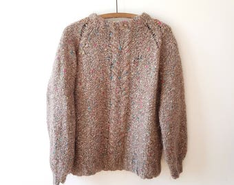 Sweater / beige / colorful thread / vintage / oversize