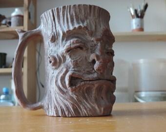 pottery mug. Mug with ent face. Treebeard mug. MADE TO ORDER