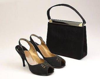 Size 6 1960s Shoes and Handbag Set Slingback Shoes Peepetoe Shoes Black Satin Matching Set High Heels Pumps Purse Set Faille Satin