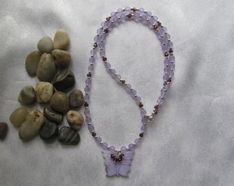 Purple Mother of Pearl Butterfly Necklace