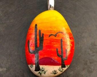 Desert Sunrise Pendant, Cactus Pendant, Desert, Cacti Pendant, Sunrise Pendant, Unique Pendant, Jewelry Gift