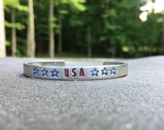 Patriotic Bracelet, Fourth of July Bracelet, Fourth of July Jewelry, Red White Blue Star Jewelry,