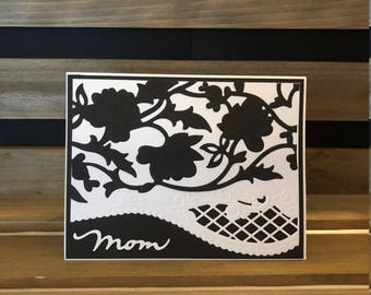Mother's Day Card, Classic Black and White, Lacy Die Cut Flower Overlay and Fancy Edging Accents, Stamped Sentiment Inside