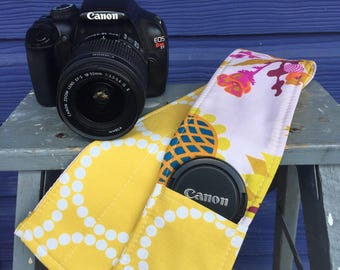 Camera Strap Cover with Lens Pocket Ready to Ship Canon Nikon DSLR Photographer Photography #105 Gold Yellow Floral Flowers Pink