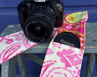 Camera Strap Cover with Lens Pocket Ready to Ship Canon Nikon DSLR Photographer Photography #106 Pink Paisley Michael Miller Fabric
