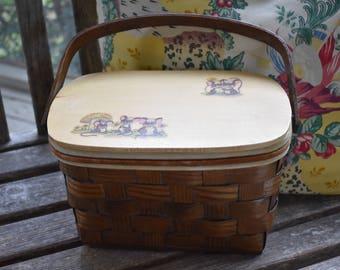 Vintage 60's 'Tiny Mice' Wooden Basket Purse