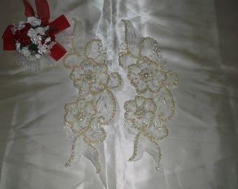 Ivory Rhinestone/Pearl Beaded Flower Applique