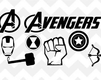Avengers Bundle SVG, Avengers SVG, Iron Man svg, Thor svg, Captain America svg, Silhouette Cricut, Cut File