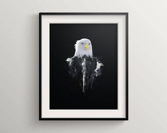 Eagle, American Bald Eagle, Eagle Art, Animal Print, Bald Eagle Print, Wildlife, wildlife art print, Bird print, Animal decor, animal art