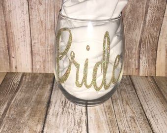 Bride and wedding party wine cups