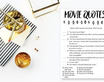 Movie Quotes Game. Instant Download. Printable Ice Breaker Game. Neutral. - 04