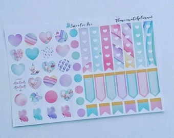 Deco sheet planner stickers sweetiepie, Flags,tags,hearts,check flag stickers, cute,unicorn planner