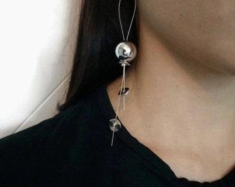Long earrings, Silver tone earrings, Modern earrings, Wire earrings, Hook earrings, Party earrings, Easter holiday earrings
