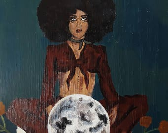 "Acrylic Painting on Wood Panel ""Afrodite"" Original"