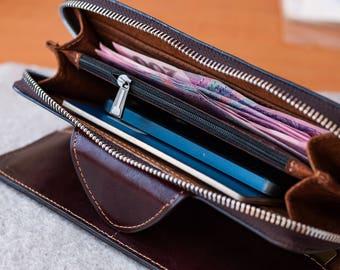 Leather Clutch, Travel wallet, leather Passport Wallet, document wallet, Gift for Dad, Zip around Wallet, Wristlet Wallet, Phone Wallet
