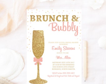 Bridal shower ,brunch and bubbly, bridal shower, champagne glitter gold, Brunch bubbly invitation, brunch bridal shower invitation, bridal