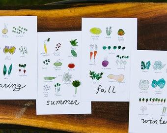The Seasons 4x6 Watercolor Prints