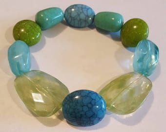 Green and Turquoise Beaded Stretch Bracelet