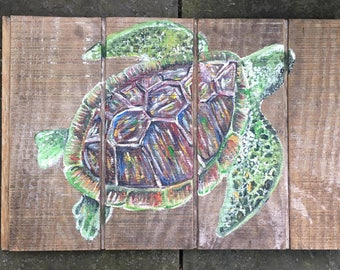 Turtle on reclaimed wood-Contact for price