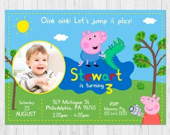 GEORGE PIG Photo Invitation, Peppa Pig Invitation Boy, Peppa Pig Birthday Invitation, Peppa Pig Invites, FREE Peppa Pig Thank You Card, B-I1