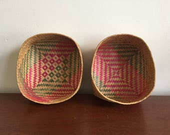 Vintage Straw Woven Baskets
