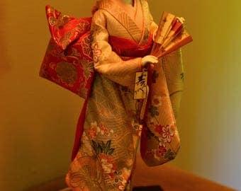 Japanese Kimono Porcelain Doll on Stand