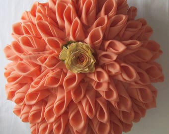 "Pillow ""Josephine"" an excellent gift. Coral.Pillow round.Decorative pillows for couch.Pillow cases handmade."