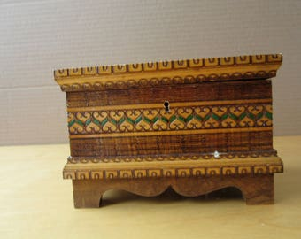 Vintage 1970's Wooden Box for Jewelry, Etc