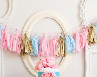 Tissue Tassel garland -Baby shower Gender Reveal party