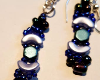Beaded drop earrings - Blue Arcos (Crescent)  and Honeycomb Beads