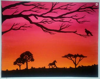 Lone Stallion - Original 14 x 11 Acrylic Painting on Stretched Canvas