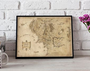 Middle Earth Map art poster Tolkien map Middle Earth Map print Lord Of The Rings art Middle Earth decor LOTR poster Hobbit Art Gift poster