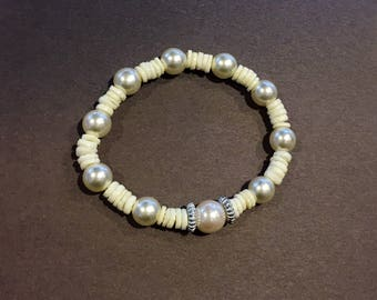 Unique White Pearl Bracelet with White Vulcanite, Silver Spacers