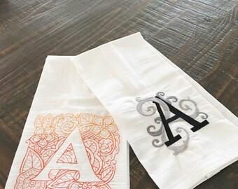 Flour Sack Kitchen Towels Monogrammed to Order