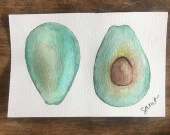 Watercolor Avocado Postcard or Print