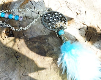 Necklace silver long turquoise marabou feather and rhinestone pendant