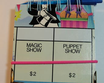 Post-It Note Holder from Monopoly Jr. Game Board