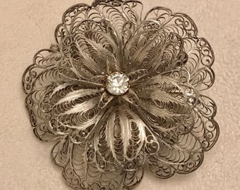 Vintage 925 Sterling Silver Filigree Flower Brooch Marked LRL