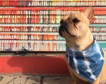 Hand-dyed Indigo Dog Bandana; Dog Bandana; Tie Dye Dog Bandana; Unique Dog Bandana